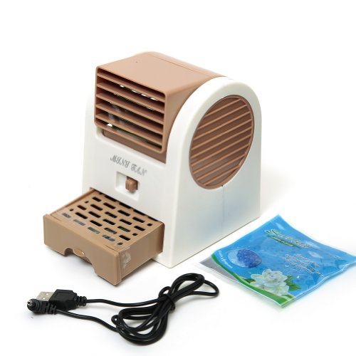 Mini Handheld Portable Fan Air Conditioning Conditioner Water Cool Cooler USB Brown