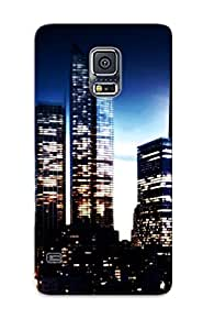 Mooseynmv Galaxy S5 Hybrid Tpu Case Cover Silicon Bumper New York Buildings Skyscrapers Manhaan World Cities Skyline Cityscape Night Lights Sunset Sunrise Sky Roads