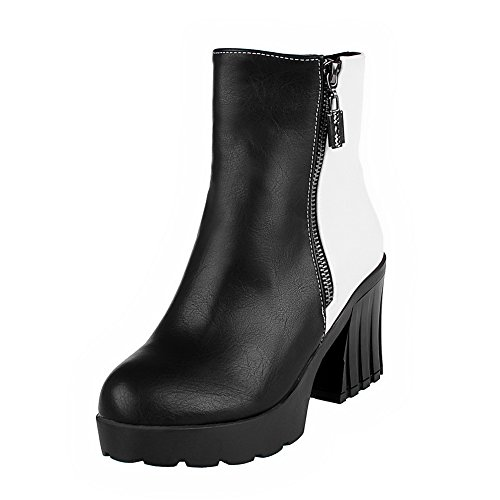 AgooLar Women's Soft Material Round Closed Toe Assorted Color Low-Top High-Heels Boots Black C7SJRP8