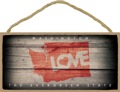 (SJT13580) Washington - State Outline With ''Love'' And State Motto 5'' x 10'' Wood Plaque Sign