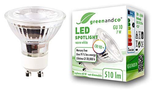 WarmWeiß 1er-Pack Grünandco® CRI 90+ 10er-Pack LED Spots GU10 7 Watt (= 60 Watt) 510 Lumen warmweiß, nicht dimmbar, flimmerfrei, 2 Jahre Garantie