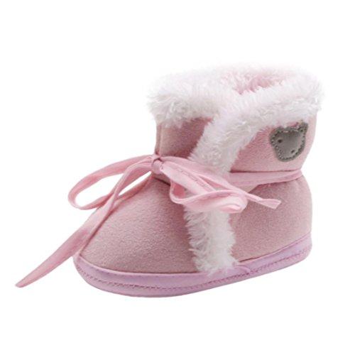 Xshuai Neugeborene Baby Mädchen Jungen Bär Druck Herbst Winter Soft Sole Stiefel Prewalker Warm Schuhe Rosa