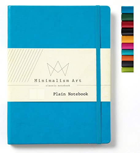 Minimalism Art | Classic Notebook Journal, Size: 8.3 X 11.4, A4, Blue, Plain/Blank Page, 192 Pages, Hard Cover/Fine PU Leather, Inner Pocket, Premium Thick Paper-100gsm | Designed in San Francisco