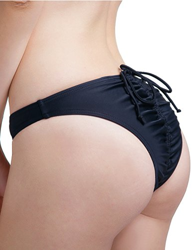 Sexy Women's Brazilian Adjustable Ruched Cheeky Butt Low-rise Bathing Bikini Bottom (Medium, Black)