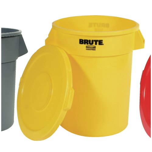 RCP2632YEL Round Brute Container, Plastic, 32 gal, Yellow FG263200YEL