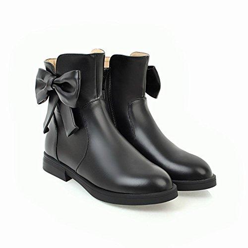 Mee Shoes Damen flach Schleife runde Kurzstiefel Schwarz