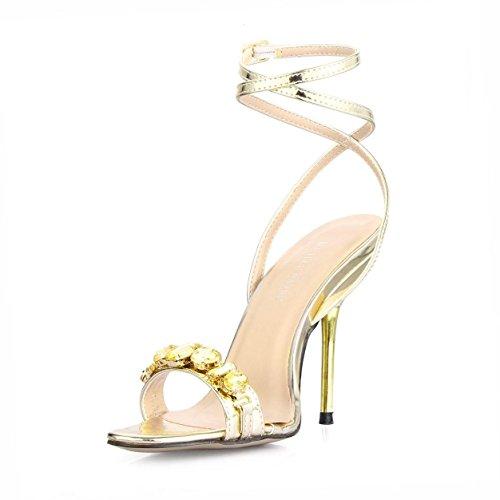 Best 4U® Sandalias de verano para mujer Espejo PU correas de cristal punta redonda 10.7 CM zapatos de suela de goma de tacones altos , EU35