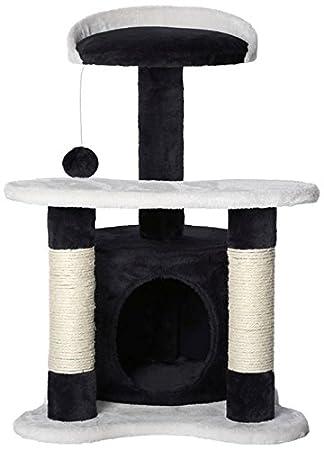 Dibea KB00142 Rascador para Gatos, Altura 65 Cm, Árbol Escalador Arañar Juguete Color Negro y Blanco: Amazon.es: Productos para mascotas