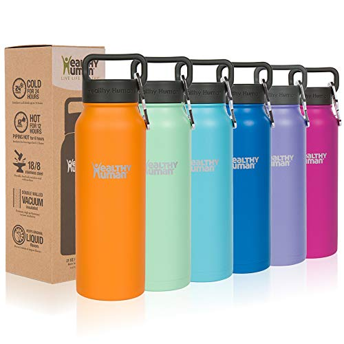 Healthy Human Classic Collection Insulated Stainless Steel Water Bottle Stein - Cold 24 Hours/Hot 12 Hours - Double Walled Vacuum Flask - 21 oz Orange Sherbet