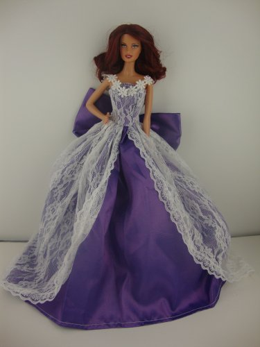 A Beautiful Purple Ball Gown with White Lace Botice and on the Skirt Made to Fit the Barbie Doll, Baby & Kids Zone