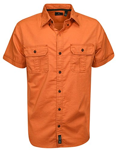 1a9b1b083ea G.H. Bass & Co. Men's Explorer Point Collar Short Sleeve Fishing Shirt,  Orange Rust, Medium