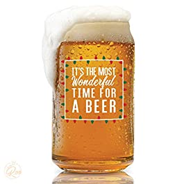 Most Wonderful Time for a Beer- Red, Green and White- 16 Ounce Glass- Perfect for Men and Women – Funny Glass (Most…