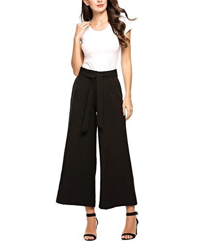 Zeagoo Womens Business Flowy Wide Leg High Waist Belted Palazzo Harem Pants,Black2,Small