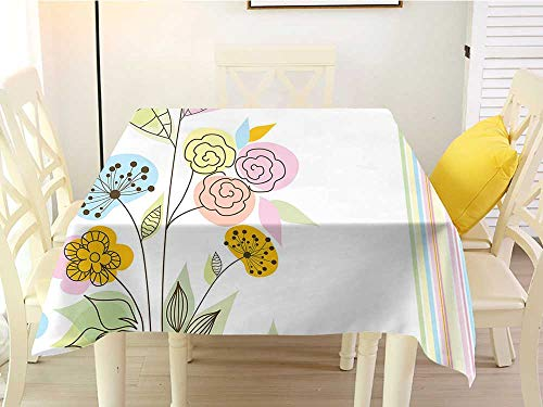 L'sWOW Square Tablecloth spillproof Dandelion Colorful Wildflowers with Line Art Design Abstract Composition Gentle Nature Multicolor Western 36 x 36 -