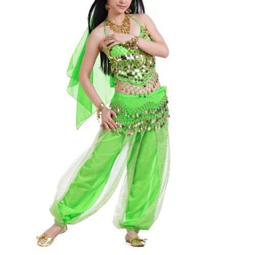 BellyLady Egyptian Belly Dance Costume, Halter Bra Top and Tribal Harem Pants LIGHTGREEN