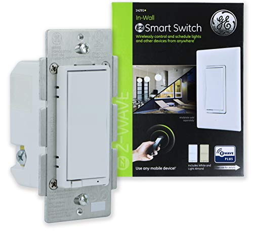 GE Enbrighten Z-Wave Plus Smart Light Switch, On/Off Control, In-Wall, Incl. White and Lt. Almond Paddles, Repeater/Range Extender, Zwave Hub Required, Works with SmartThings, Wink, Alexa, - Control Range White Panel