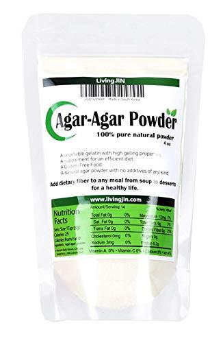 Agar Agar Powder 4OZ, Vegan gelatin with Dietary Fiber [100% Natural + Non GMO + Pure jello]