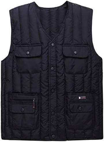 LF- コットンベスト冬のメンズ厚手のベストノースリーブジャケット大型マルチポケットアウトドアベストショルダーコート プラスベルベット (Color : B, Size : Xl)
