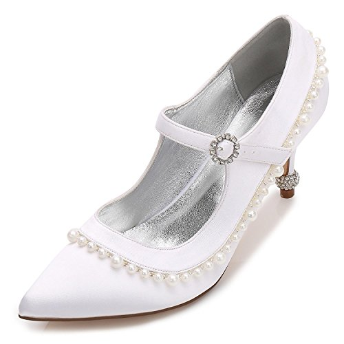 L@YC Women's Wedding Shoes G17767-40 Spring Summer Autumn Winter Rhinestone & Kitten With Novel and Comfortable White HMCsM