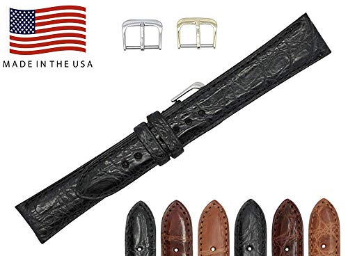 20mm Black Genuine Crocodile - Matte Padded Stitched - American Factory Direct - Replacement Watch Band Strap - Gold and Silver Buckles Included - Made in The USA by Real Leather Creations FBA458 ST