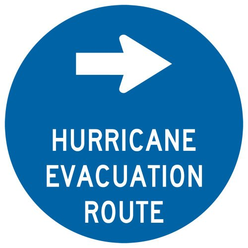 ComplianceSigns Reflective Aluminum Surface / Post Mount Evacuation Route Sign, 12 x 12 with English, Blue - Hurricane Evacuation Sign