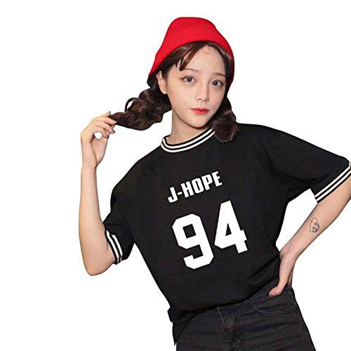 JHion Kpop BTS Concert Mood Love Story T-Shirt  Manches Courtes Filles J-HOPE NOIR