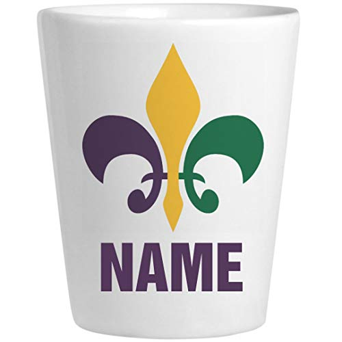 Personalized Mardi Gras Shot Glass: Ceramic Shot Glass -