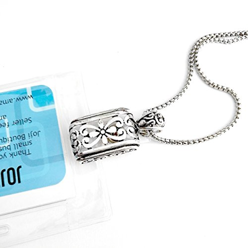 (Antiqued Silver Open/Cutout Filigree Rectangle: Lanyard Necklace (Plus Two Clear Pouch/ID/Badge/Card Holders))