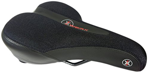 XWERX SX SPORT COMFORT ES LYCRA Hybrid / Road / Mountain Bicycle Seat - Supportive GEL Foam, Elastomer Spring Suspension, Reflective sport comfort bike design saddle, with Mounting clamp adapter