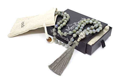 Premium Labradorite Mala Beads Necklace - 108 Mala Beads 8mm - Japa Mala Beads - Mala Beads for Women - Tibetan Mala Beads - Mala Necklace - Labradorite Necklace - Mala Beads for Men