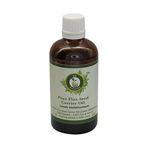 R V Essential Pure Flax Seed Carrier Oil 10ml (0.338oz)- Linum Usitatissimum (100% Pure and Natural Cold Pressed) (Linum Usitatissimum Seed)
