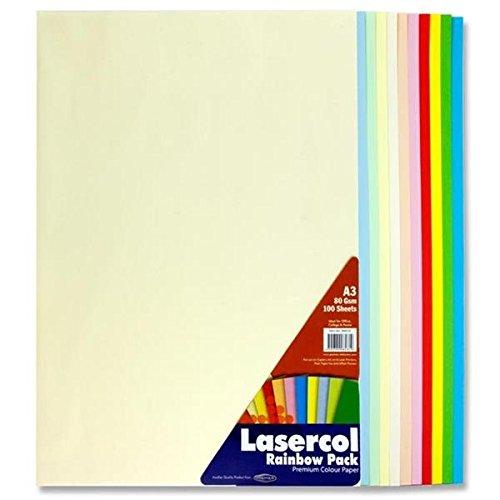 Premier Stationery Lasercol-Kopierpapier, A3, 80g/m², 1 Pack à 100Blatt in Pastellregenbogenfarben 80g/m² S4584819