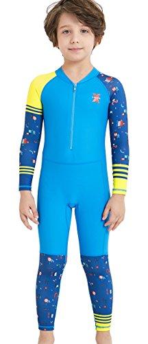 DIVE & SAIL Boys Swimsuit UPF 50+ UV Sun Protective One-Piece Long Sleeve Sunsuit Stretch Full Suit Swimwear Blue XXL