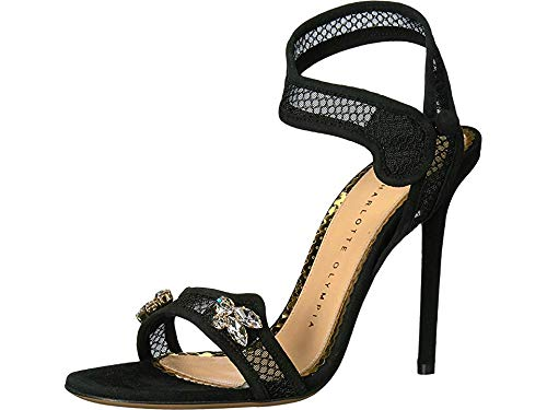 charlotte olympia Women's Feline Sandals Black Fishnet/Suede 37 M EU