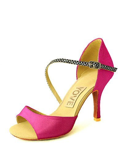Shoes Dance Women's White ShangYi Heel Salsa Satin Red Blue Red Fuchsia Black Pink Latin Customized Purple Customizable Yellow qEtgBUgA