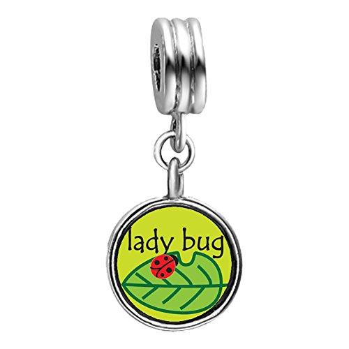GiftJewelryShop Lady Bug On Leaf Light Amethyst Crystal June Birthstone Flower Dangle Charm Bracelets