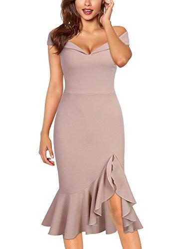 Dress G Slim Off Evening Elegant Knitee Shoulder pink Women's Style Party xaz8qx75