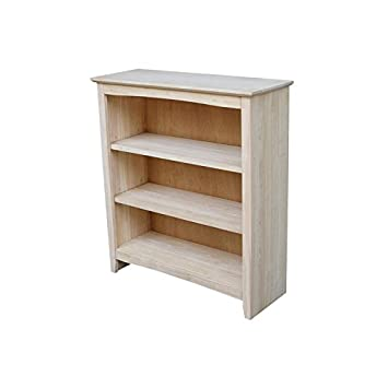 International Concepts Shaker Bookcase, 36-Inch, Unfinished