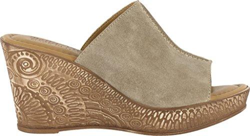 Bella Vita Kvinna Dax Läder Peep Toe Tillfällig Mule Sandaler Taupe Mocka