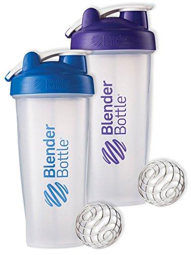 28 Oz. Hook Blender Bottle W/wire Shaker Ball Bundle-Clear Blue/Clear Purple
