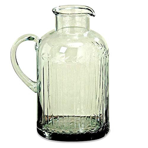 WHW Whole House Worlds Heritage Summertime Pitcher, Rustic Clear Glass, Made by Hand, Etched Wheat Grain Pattern, 64 Fluid Ounces (2 Quarts) 5 1/2 Diameter x 9 Inches - Etched Glass Tabletops