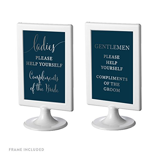 Andaz Press Framed Wedding Party Signs, Metallic Silver Ink on Navy Blue, 4x6-inch, Ladies Gentlemen Please Help Yourself Compliment of the Bride Groom Bathroom Basket Signs, Double-Sided, (Silver Brides Basket)