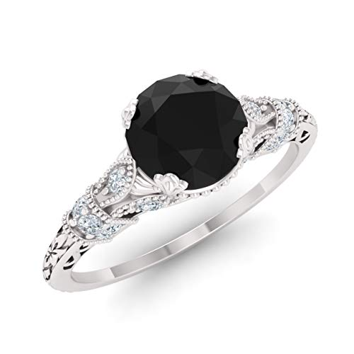(Diamondere Natural and Certified Onyx and Diamond Engagement Ring in 14K White Gold | 1.11 Carat Art Deco Engagement Ring for Women, US Size)