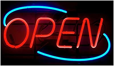 Oval Real Glass Bright Neon Open Sign / Light - Open Signs - For Retail Store Shop Office Restaraunt Business Bar