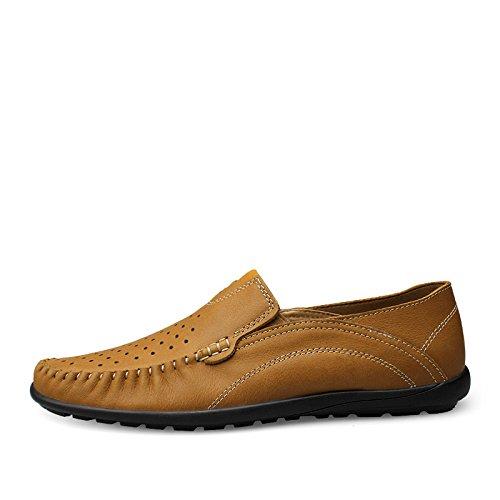 Salabobo QYY-99887 Mens Comfort Fashion Casual Leather Loafers Slip-on Smart Driving Shoes Ochre fWyNH3d7nF