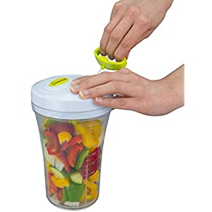 Brieftons QuickPull Food Chopper: Tall 4-Cup Hand Held Vegetable Chopper Mincer Blender to Chop Fruits, Veggies, Herbs, Onion, Garlic for Salsa, Salad, Pesto, Coleslaw, Puree, with Measuring Container