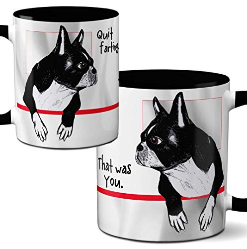 Farting Boston Terrier Mug by Pithitude - One Single 11oz. Black Coffee Cup ()