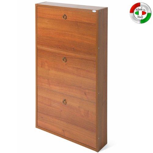Scarpiera in legno 3 noce antico cm 108x65x15 per interno