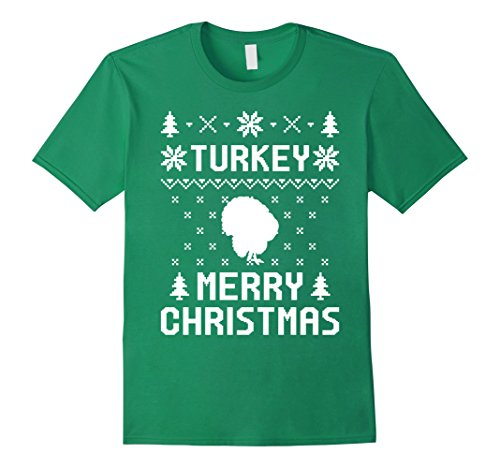 Ugly Turkey Costume (Mens Turkey Christmas T-shirt, Ugly Christmas Sweater T-Shirts 3XL Kelly Green)