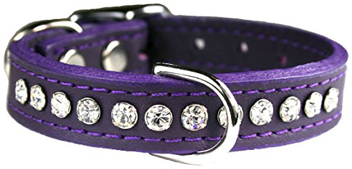 Crystal Collar - OmniPet Signature Leather Crystal and Leather Dog Collar, 12-Inch, Purple
